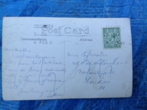 Sydney Sylvester's Postcard to Home 4th February 1915