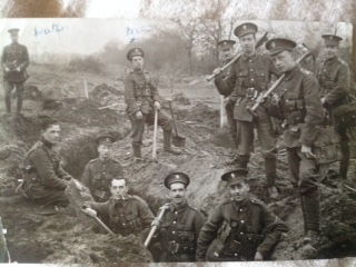 Trench-digging Practice for Sydney Sylvester (standing, centre) & fellow 'Stockbrokers' probably at the Donylands training ground