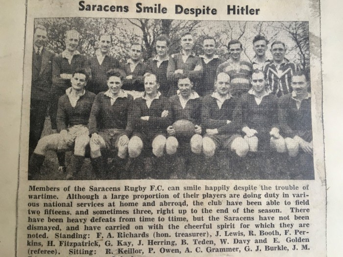Saracens Smile Despite Hitler - Palmers Green and Southgate Gazettte May 3 1940